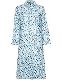 Ladies Long sleeve Warm Winter 100% Brushed Cotton Winceyette Nightdress  Pink or Blue Floral Pattern 2a4d36711