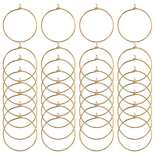 BronaGrand 100 Stücke Weinglas Charms Ringe Weinglas Ring Ohrringe Weinglas Creolen Party Bevorzugen Größe: ca. 25 x 29 mm 0,7 mm Dick (Goldfarben)