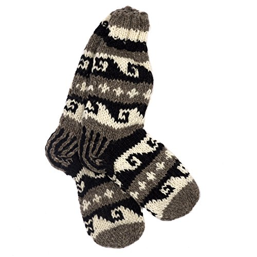 Funky Hand Knitted Winter Woollen Annapurna Socks - Black & White