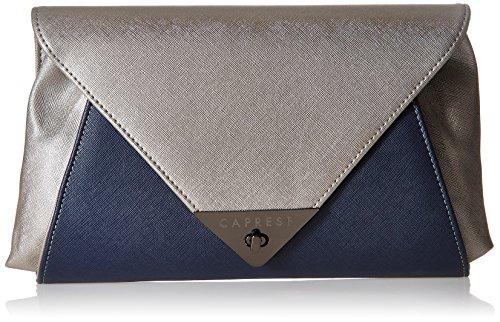 Caprese Audrey Women's Clutch (Oxidised Silver and Navy)  available at amazon for Rs.1930