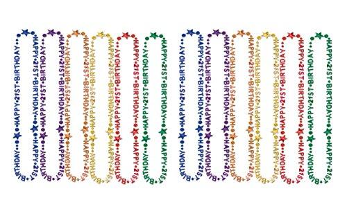 'Beistle 57237–2112Stück 21st Geburtstag beads-of-expression Rechnungshof Dekoration Perlenketten 21 bunt