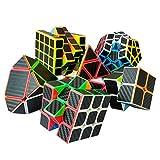 KBstore 6 Piezas Speed Cubes Set 2x2x2 3x3x3 4x4x4 Megaminx Skew Pyramid Pegatina de Fibra de Carbono Cubo mágico Conjunto - Magic Cubes de Rompecabezas Juguete