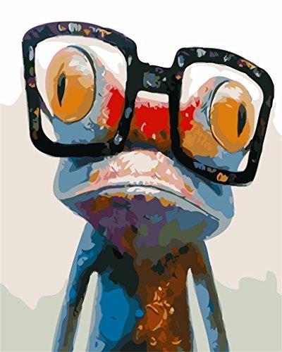 YEESAM ART Neuerscheinungen Malen nach Zahlen für Erwachsene Kinder - Frosch mit Brille 16 * 20 Zoll Leinen Segeltuch - DIY ölgemälde ölfarben Weihnachten Geschenke (Frosch, Ohne Frame)