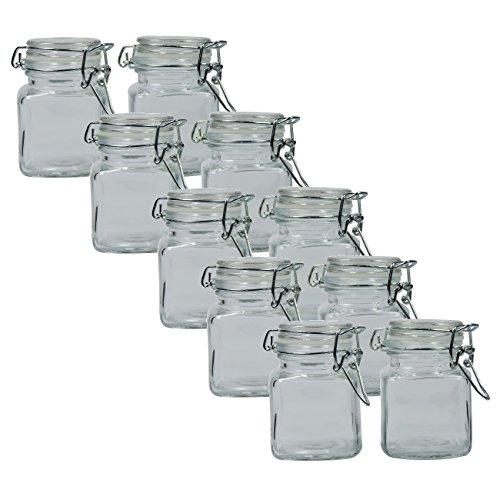 versandfuxx24 - 10 einfache eckige Gewürzgläser 100 ml / Glasdosen mit Bügelverschluss