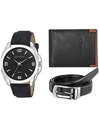 Laurels Multicolor Men's Wallet With Watch & Belt- Combo Pack (CP-DIP-202-MRTN-0206-CRP-III-02)