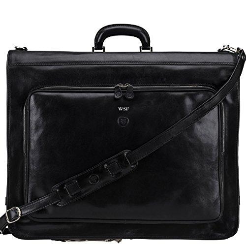 Maxwell Scott® Personalizada Lujo Italiano de Piel para hombre traje Carrier (Rovello) Negro Night Black