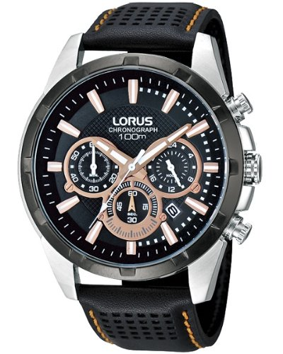 Lorus Mens Chronograph Black Leather Strap RT307BX9