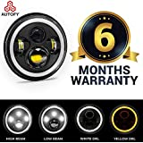Autofy 6 MONTHS WARRANTY 7 Inch 6 LED Headlight Dual Color DRL Ring for Royal Enfield Bike Mahindra Thar Jeep (45W, White & Amber, Single Unit)