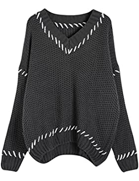 Vogueearth Fashion Mujer's Largo Manga V-Neck Knit Jumper Jersey Sudaderas Suéter Pull-over Pullover Top