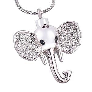 NWZW Elefant Edelstahl Asche Halskette Silber für Andenken Urnen Anhänger Kette Freundschaftskette,Silver