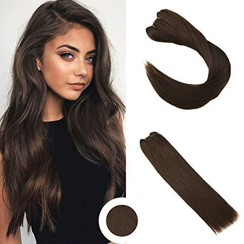 Ugeat non trasformati eze extensions 50g remy tessitura umana estensioni capelli veri 18pollice 45cm capelli extension veri marrone scuro #4