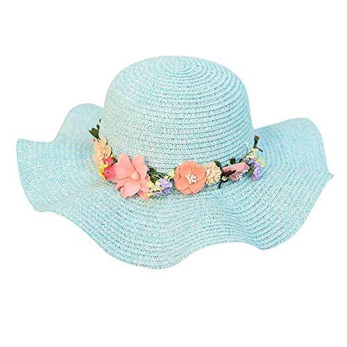 REIGORHI Sonnenhut Sonnenhut-Frauen-Gummiband-Blumenstrohkappen für weibliche Spitzen-Stroh-Sommer-beiläufige Ferien-Strandkappen SB