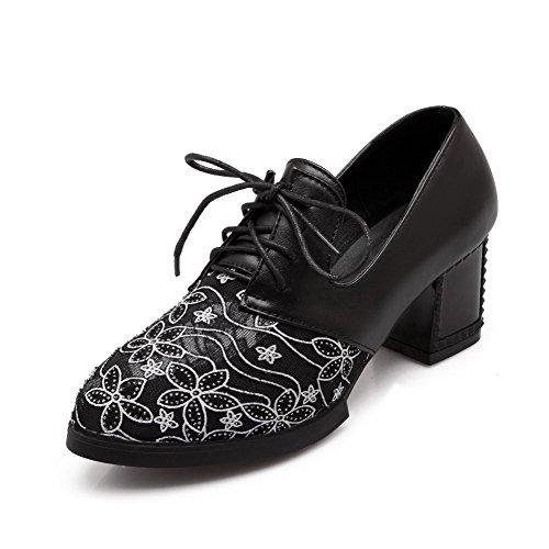 AllhqFashion Femme Lacet à Talon Correct Matière Mélangee Couleur Unie Rond Chaussures Légeres Noir