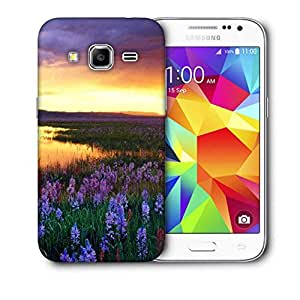Snoogg Purple Flower Printed Protective Phone Back Case Cover For Samsung Galaxy CORE PRIME