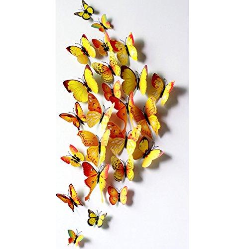 broadroot New Art Design Aufkleber Wand Aufkleber Home Decor Zimmerdekoration 3D Schmetterling gelb (Gelbes Schmetterlings-wand-aufkleber)