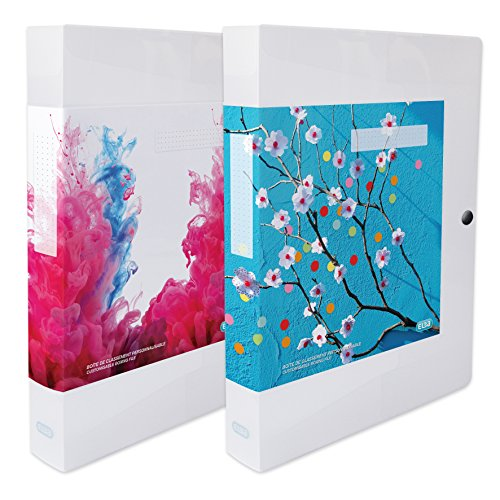 ELBA 400058510 Kunststoff-Sammelbox polyvision 4 cm breit 24 x 32 farblos Drucknopf-Verschluss Sammel-Mappe Heftbox Heft-Sammler Dokumenten-Box ideal für Büro Schule und die mobile Organisation