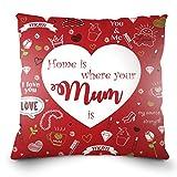 Almohada y cubierta suave orgánica para el Día de la Madre. Imprimir English -...