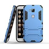 Funda Huawei G8 / G7 Plus, MHHQ 2in1 Armadura Combinación A Prueba de Choques Heavy Duty Escudo Cáscara Dura PC + Suave TPU Silicona Rubber Case Cover con soporte para Huawei G8 / G7 Plus -Light Blue