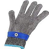 TianranRT Sicherheit Schnitt Beweis Stich beständig Edelstahl Stahl Handschuhe Metall Masche Metzger (Blau,XL)