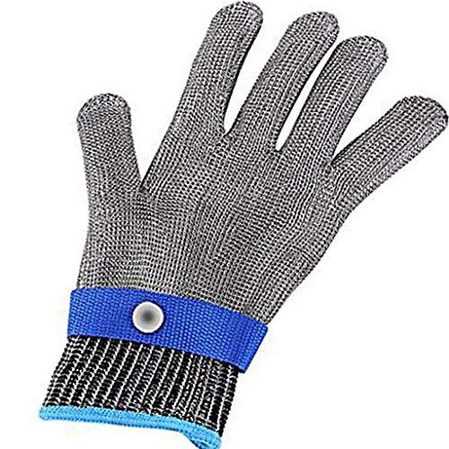 TianranRT Sicherheit Schnitt Beweis Stich beständig Edelstahl Stahl Handschuhe Metall Masche Metzger (Blau,XL) Full-dekanter