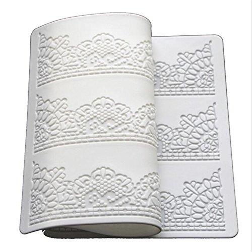 Backform, 39,8 x 20 cm, weiß, Silikon, Back-Matte, Blumen-Muster, für Kuchen-Dekoration