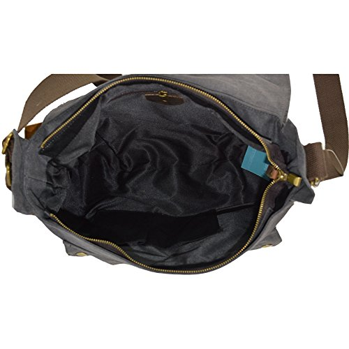 CTM Borsa a spalla da donna in tela, ampia tracolla regolabile e dettagli in vera pelle 38x24x12 cm Nero