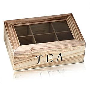 Boîte à thé avec couvercle coffret Tea Box en bois Naturel Vintage Shabby Décoration