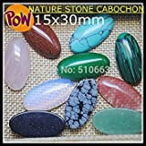 10 Pieces/Lot Nature Stone Cabochon Surface Assorted Beads Oval Shape Fashion Beads Jewelry Accessories Size 15x30mm