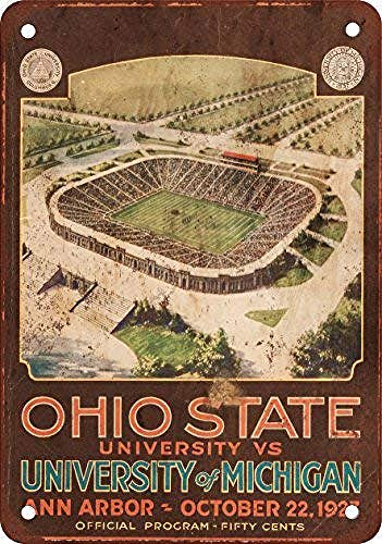 WallAdorn 1927 Ohio State vs. Michigan Eisen Poster Malerei Blechschild Vintage Wanddekoration für Cafe Bar Pub Home