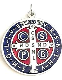 a6a0afc698f7 GTB - Medalla de San Benito de plata esmaltada para exorcismo - Tamaño  10  cm