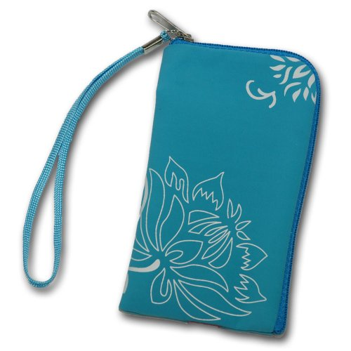 Original Handycop® Handyetui Zipper HELL BLAU mit weißen Blumen Etui Tasche Case mit Reißverschluss und Trageschlaufe für LG GS290 Cookie Fresh GM205 GS101