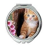 Yanteng ha realizzato ginger cat foxgloves gattino carino fiori Portafoglio specchio, specchio per il trucco, specchio tascabile (specchio portatile)