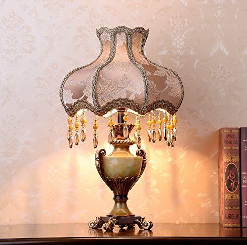 WFTD Traditionelle Tischlampe 13 Zoll handgemachte braune Stoff Nachttischlampe Prinzessin viktorianischen Stil Harz Lampe Körper Schreibtischlampe für Schlafzimmer Wohnzimmer -