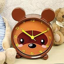 NAOZHONG Despertador de dibujos animados lindo ultra silencioso movimiento metal , little brown bear