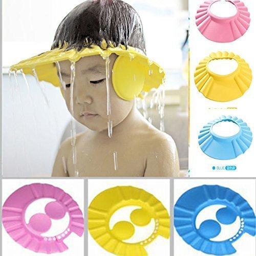 vmore Adjustable Safe Soft Bathing Baby Shower Cap Wash Hair for Children (Multicolour)