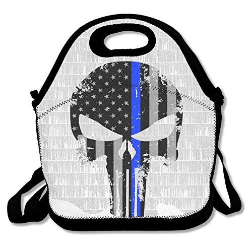 ZMvise Thin Blue Line Skull Flag les sacs réutilisables pique - nique déjeuner tote isolés boîtes hommes femmes enfants toddler infirmières sac de voyage