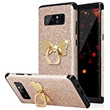 HUDDU Compatible for Gold Shinny Glitzer Sparkles TPU Handyhülle Samsung Galaxy Note 8 Bling Hülle 360 Rotation Ring Halter Stand Bowknot Halterung Ringhalter Silikon Schutzhülle Rückseite Mädchen