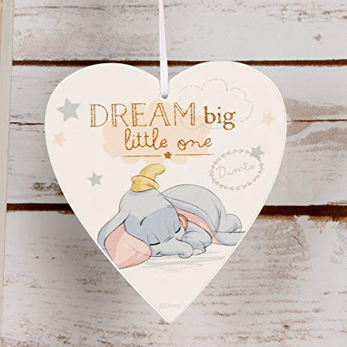 Disney DI399 Plaque à suspendre de Dumbo en forme de cœur avec le message « Dream Big Little One »