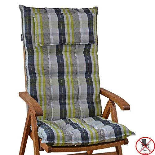 Luxus Auflagen für Hochlehner 9 cm dick mit Kopfkissen Sylt 10478-210 (ohne Stuhl)