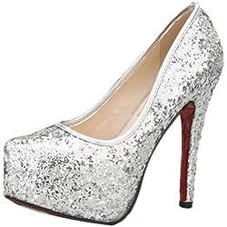 SEXYHER Helle Sekt 5.5 Zentimeter-Absatz-Plattform Hochzeit Schuhe - SHO168-6-5.5/SILVER/UK8(EU41)