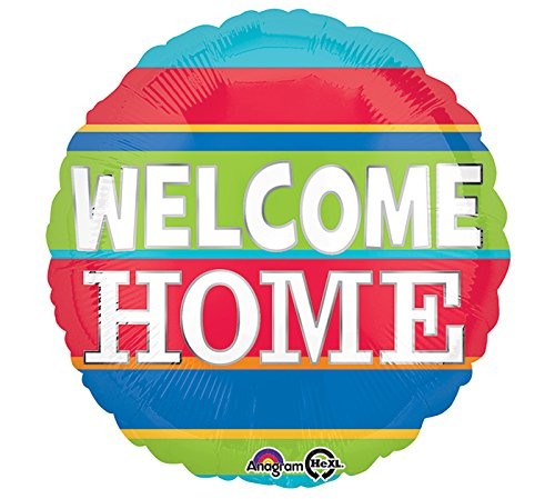 Amscan International 8.774.432,5cm Willkommen Zuhause bunten Streifen Standard Folie Ballon (Halloween Willkommen L.ein.)