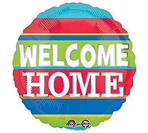 """Amscan International-3454501""""Bienvenido a casa colorido rayas"""" estándar Foil Balloon"""
