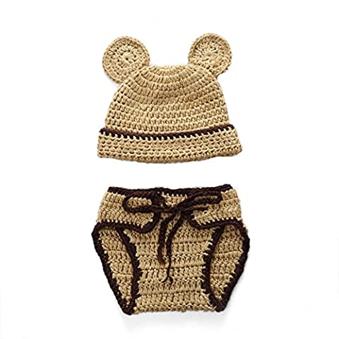 Fashion Neugeborene Jungen Mädchen Baby Kostüm Fotografie Requisiten Bär Strickmütze Set (Bären-kostüm Für Baby)