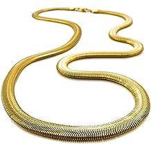 Catenina Uomo - SODIAL(R)Acciaio Inossidabile Collana A Spina Di Pesce Snake Serpente Catena Catenina Collegamento d'oro Punk Rock Uomo