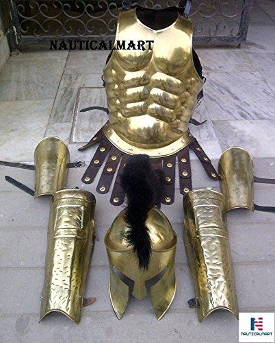 n Armour Kostüm Muskel Body Armor mit Spartan Helm und Bein oder Arm Guard-Messing Plattenpanzer ()