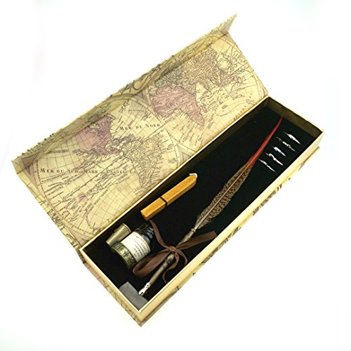 Penna d'Oca da Scrittura GC - Penna Calligrafica Piuma Pura Antica con Pennino in Metallo -1 Boccetta d'Inchiostro - Stelo Penna Ramato PA-13