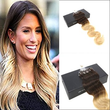 Sunny Extensions Cheveux Loop Micro Ring Ombre Brun Chocolat a Blond 16 Pouces/40cm 50g/100 meches Ondule Remy Naturel Extensions a Froid