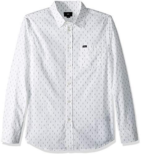Obey Herren Screw Long Sleeve Woven Shirt Button Down Hemd, Weiß/Mehrfarbig, Groß - Long Sleeve Woven Shirt