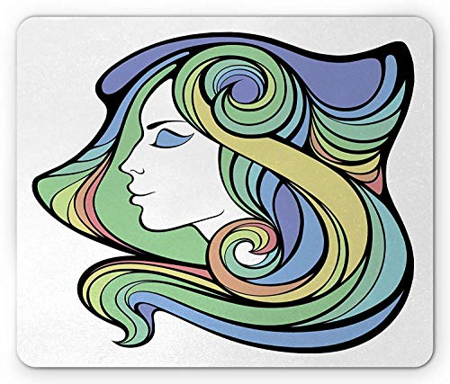 Drempad Alfombrillas De Ratón, Curly Hair Mouse Pad, Spiritual Girl with Hippie Rainbow Mystic Feminine...
