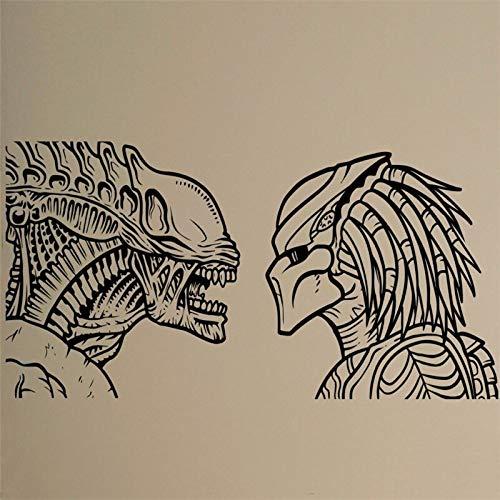 Shentop Alien vs Predator Wand Vinyl Aufkleber Retro Film Movie Poster Abnehmbare Aufkleber Wohnheim Club Bar Home Interior Wohnzimmer Decor Mura 55 * 117 cm -
